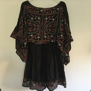 Free People Embroidered Kimono Sleeve Dress XS
